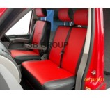 VW Transporter T5 van seat covers red leatherette-made to measure